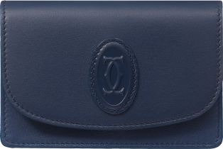 Multi-card Holder with Flap, Must de Cartier Midnight blue calfskin, golden finish