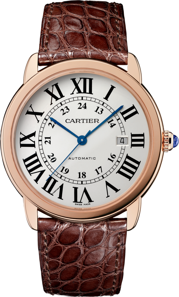 Ronde Solo de Cartier watch42 mm, rose gold, steel, leather
