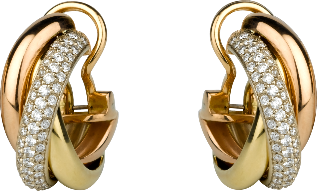 Trinity earringsWhite gold, yellow gold, pink gold, diamonds
