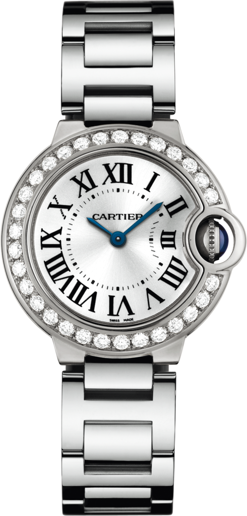 Ballon Bleu de Cartier watch28mm, quartz movement, white gold, diamonds