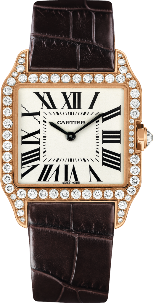 Santos-Dumont watchSmall model, 18K pink gold, leather, diamonds
