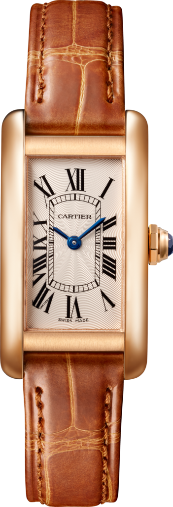 Tank Américaine watchSmall model, 18K pink gold, leather, sapphire