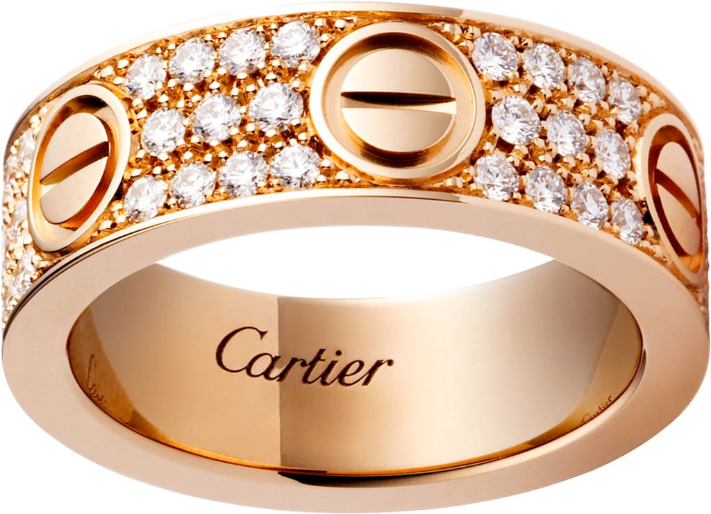 CRB LOVE ring diamond paved Pink gold diamonds Cartier
