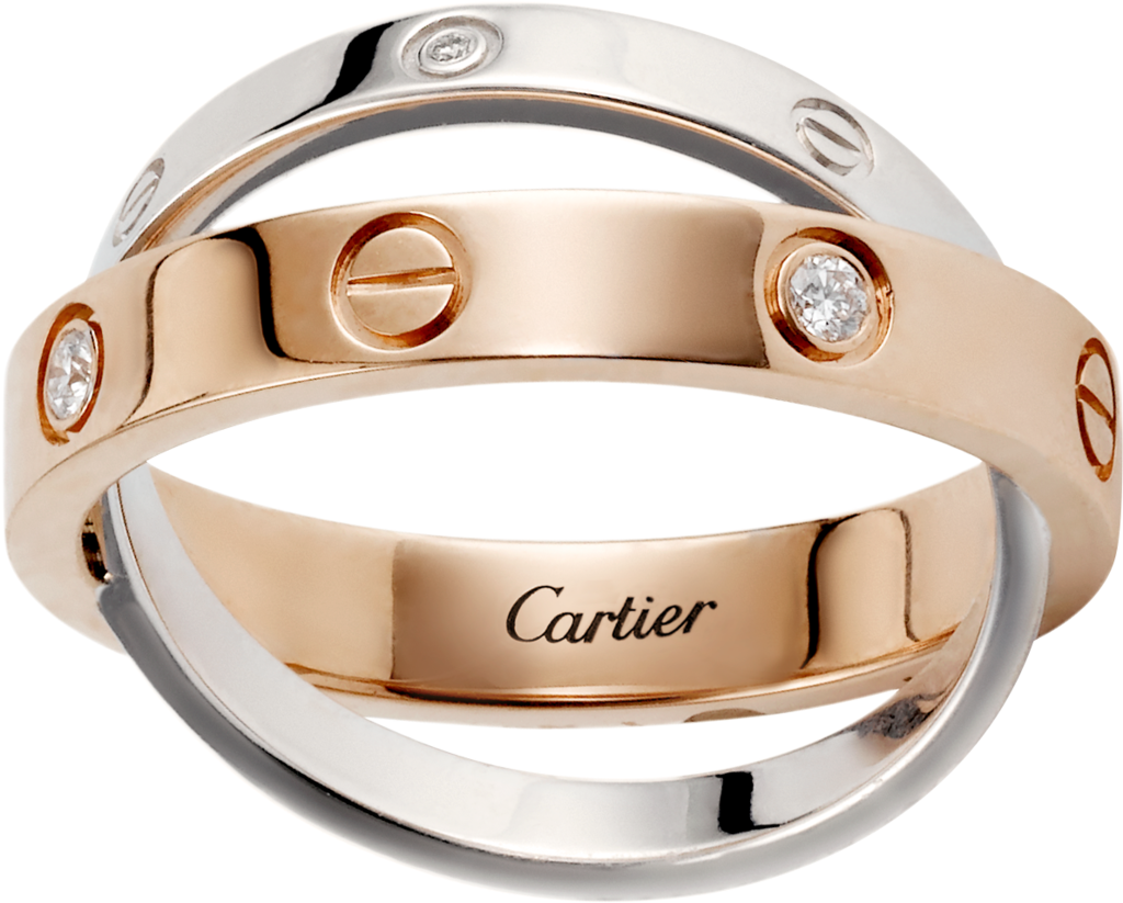 Crb4094300 Love Ring 6 Diamonds Pink Gold White Gold Diamonds
