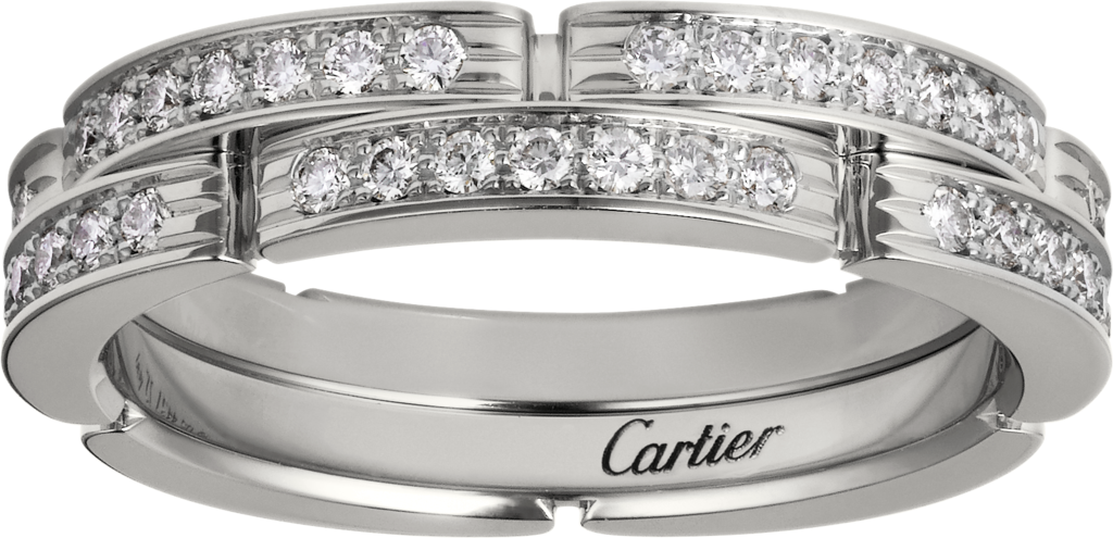 Maillon Panthère fine wedding band, 2 half diamond-paved rowsWhite gold, diamonds