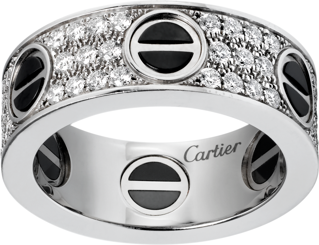 Love ring, diamond-paved, ceramicWhite gold, ceramic, diamonds