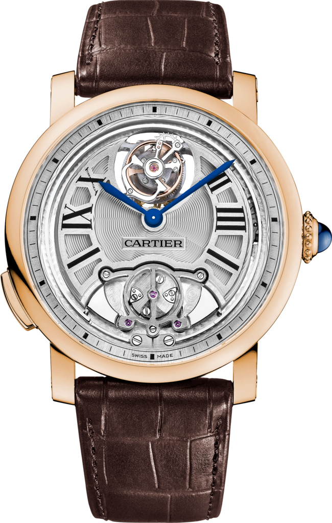 Rotonde de Cartier Minute Repeater Flying Tourbillon watch45 mm, manual, rose gold, leather
