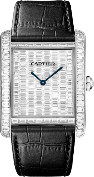 High Jewelry watch Large model, rhodiumized 18K white gold, leather, diamonds