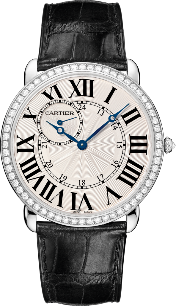 Ronde Louis Cartier watch42 mm, rhodiumized 18K white gold, leather, diamonds