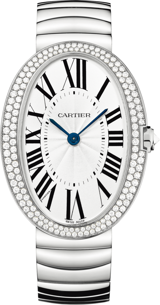 Baignoire watch, large modelLarge model, rhodium-finish 18K white gold, diamonds