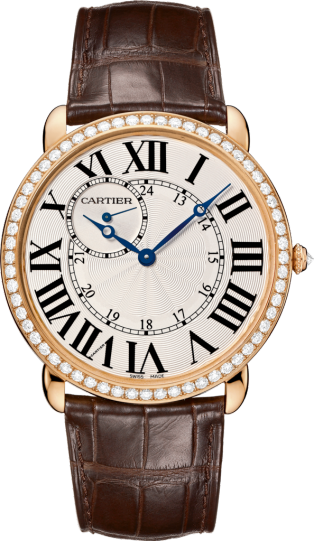 Ronde Louis Cartier watch 42 mm, 18K pink gold, leather, diamonds