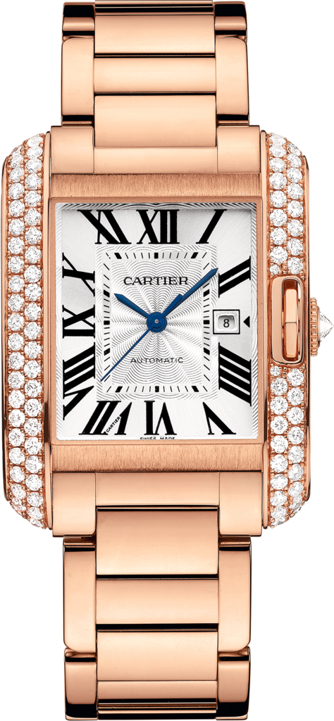 Tank Anglaise watchLarge model, 18K pink gold, diamonds