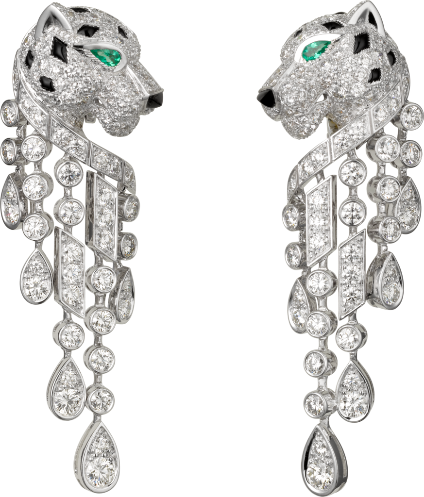 Panthère De Cartier Earringsplatinum Emeralds Onyx Diamonds