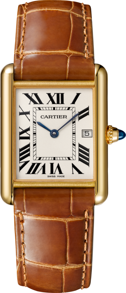 Tank Louis Cartier watchLarge model, yellow gold, leather, sapphire