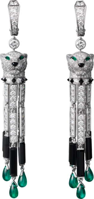 Panthère de Cartier earrings White gold, emeralds, onyx, diamonds