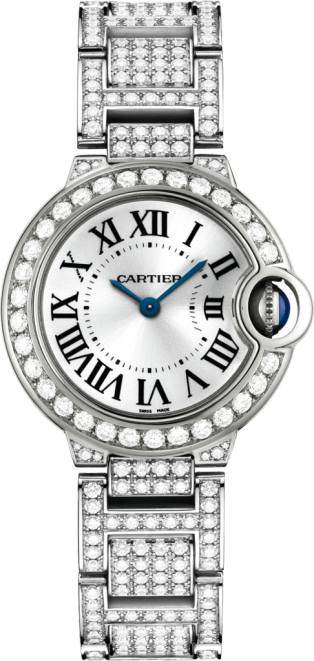 Ballon Bleu de Cartier watch 28mm, quartz movement, white gold, diamonds