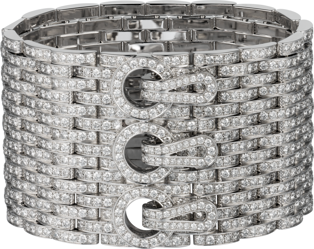 Agrafe cuff braceletWhite gold, diamonds