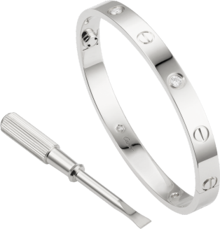 Love bracelet, 4 diamonds White gold, diamonds