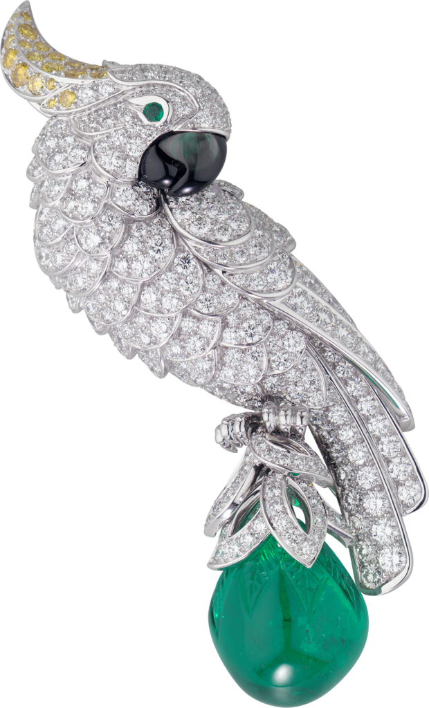 Cartier High Jewelry Fauna and Flora broochPlatinum, emerald, mother-of-pearl, diamonds
