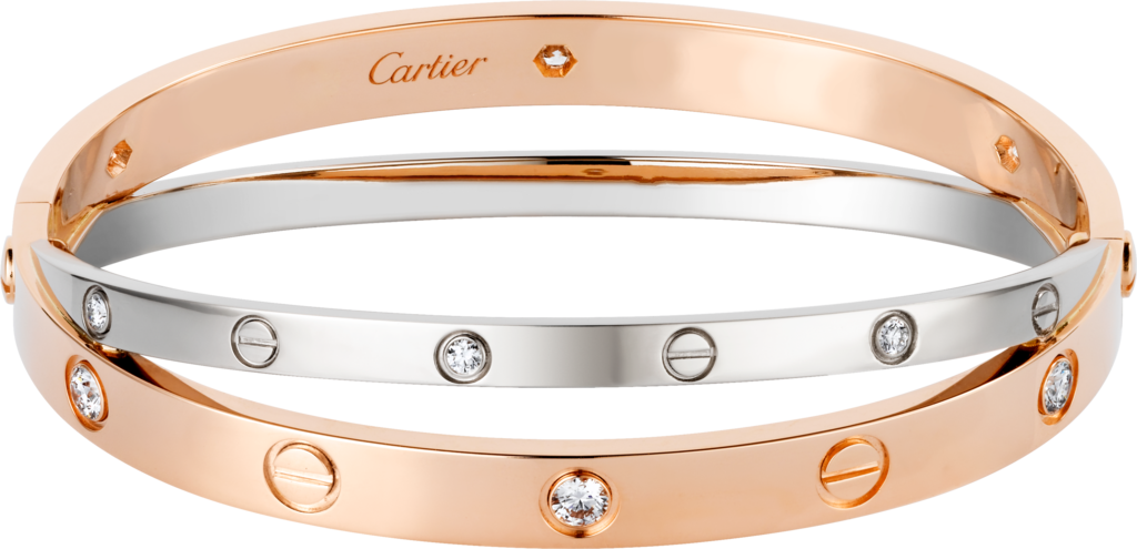Love bracelet, 12 diamondsPink gold, white gold, diamonds
