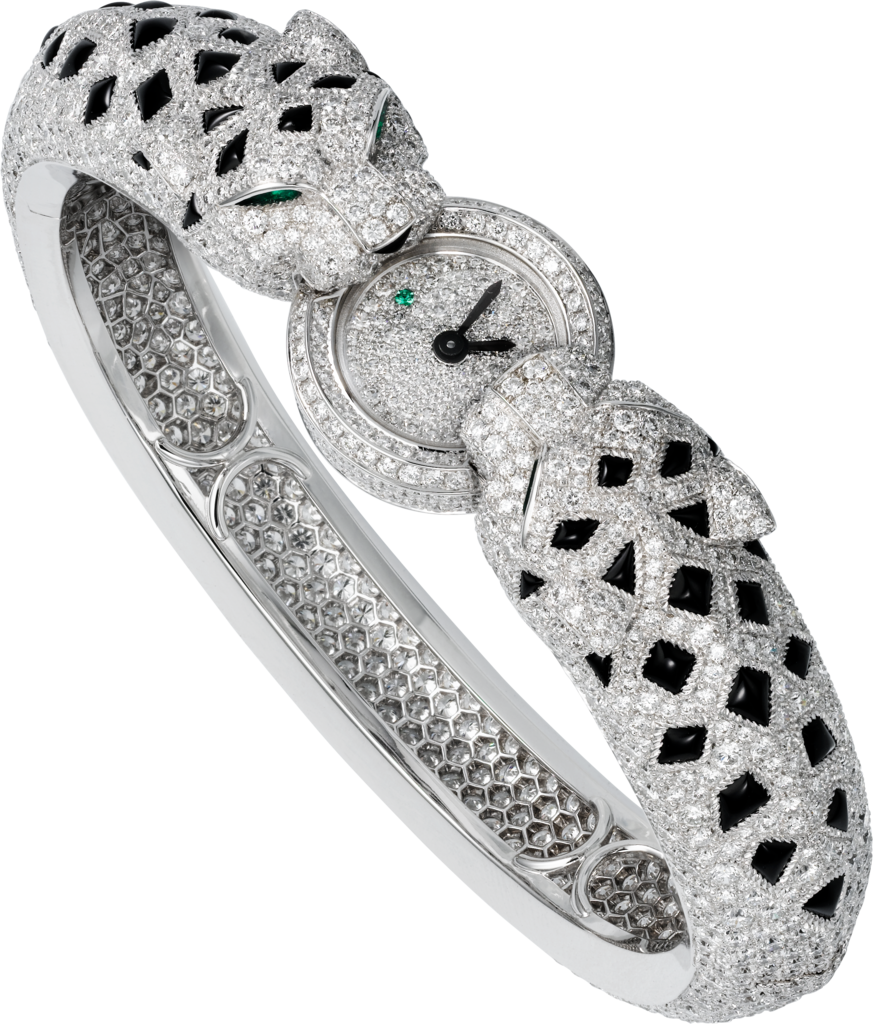 High Jewelry watchSmall model, 18K white gold, diamonds, onyx