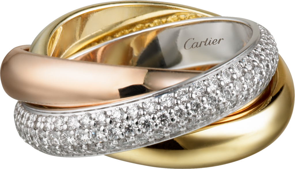 Trinity ring, classicWhite gold, yellow gold, pink gold, diamonds