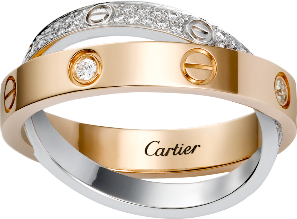 Love ring, diamond-pavedPink gold, white gold, diamonds