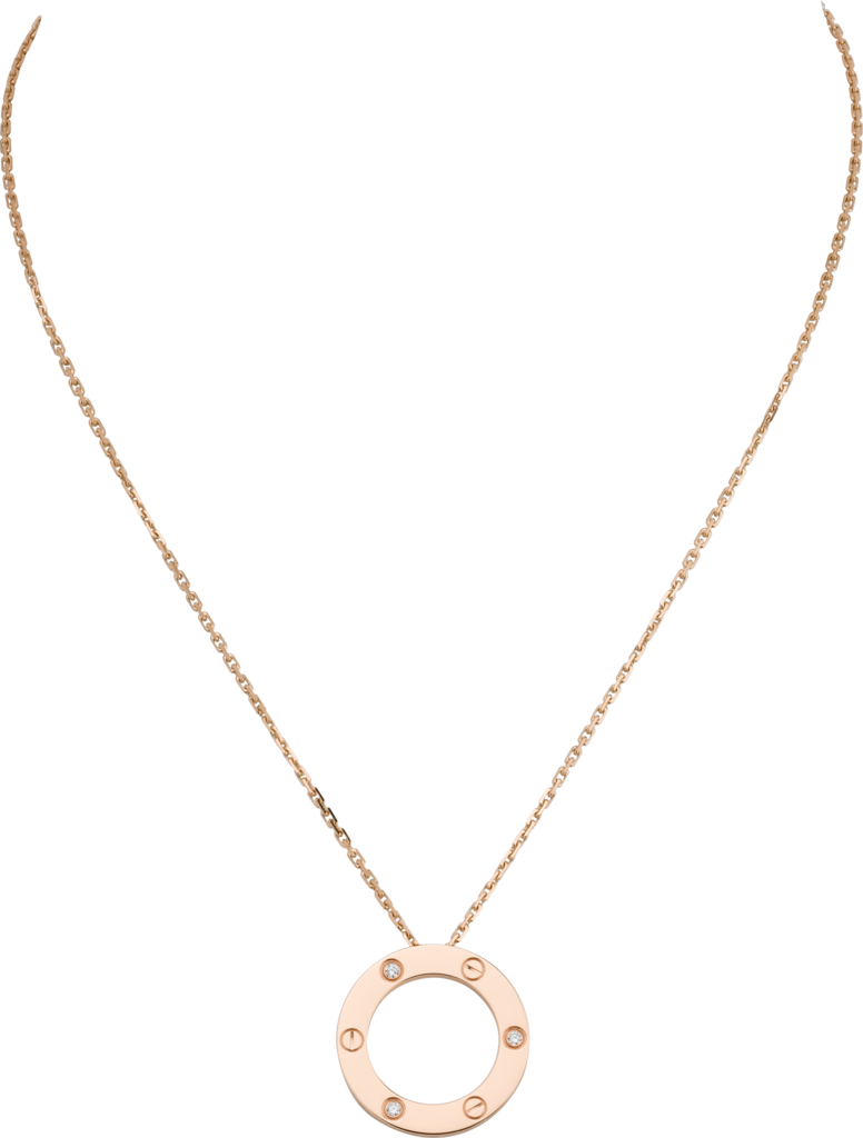 Love necklace, 3 diamondsPink gold, diamonds