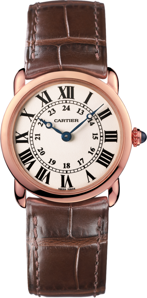 Ronde Louis Cartier watch29 mm, 18K pink gold, leather