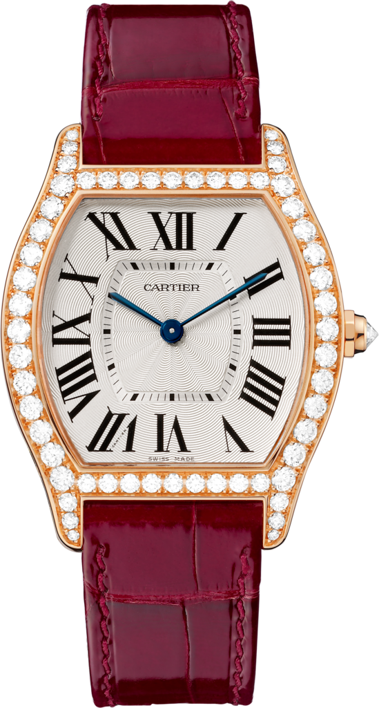 Tortue watchMedium model, rose gold, diamonds