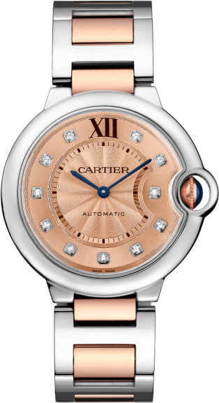 Ballon Bleu de Cartier watch 36 mm, 18K gold and steel, diamonds