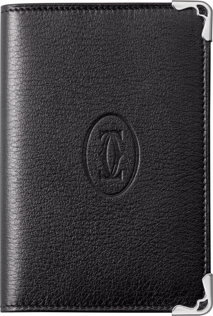 Must de Cartier Small Leather Goods, card holderBlack calfskin, stainless steel finish