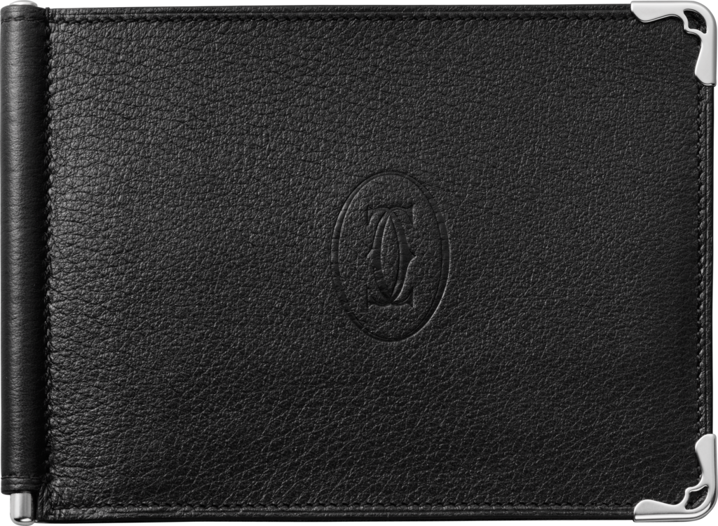 Must de Cartier Small Leather Goods, money clipBlack calfskin, stainless steel finish