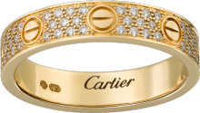 Love wedding band, diamond-paved Yellow gold, diamonds