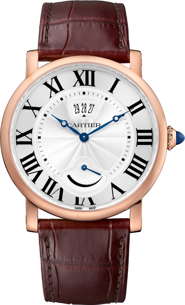 Rotonde de Cartier watch, Calendar Aperture and Power Reserve40 mm, 18K pink gold, leather