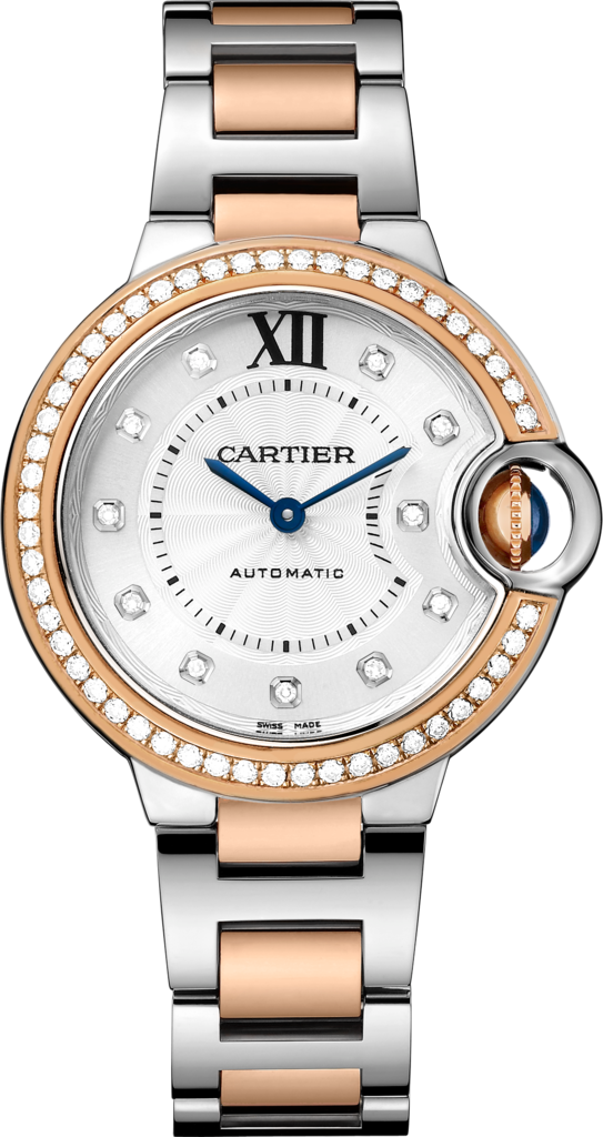 Ballon Bleu de Cartier watch33 mm, 18K pink gold, steel, diamonds