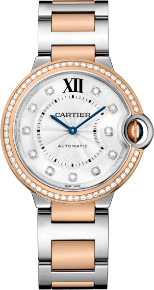 Ballon Bleu de Cartier watch 36 mm, 18K pink gold and steel, diamonds