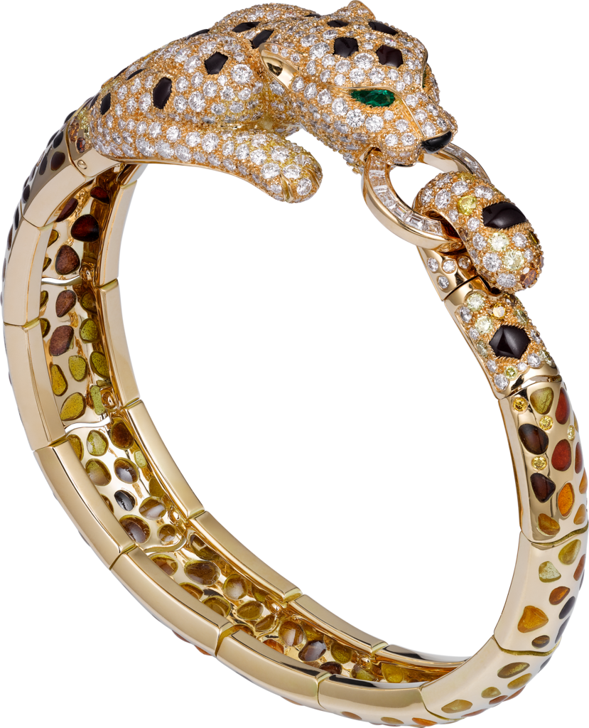 Panthère de Cartier High Jewelry braceletYellow gold, enamel, brown jasper, brown diamonds, emeralds, diamonds