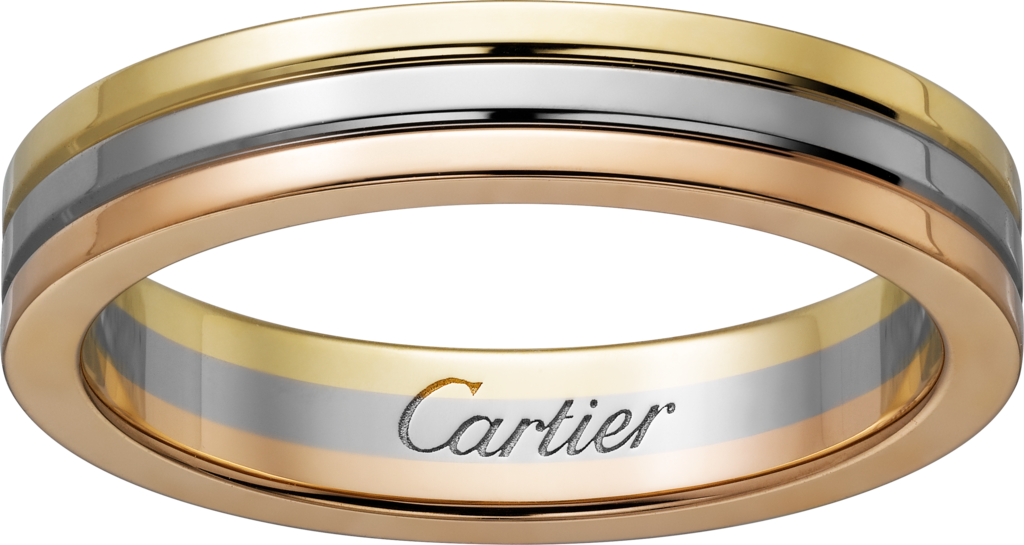 CRB Trinity de Cartier wedding band White gold yellow