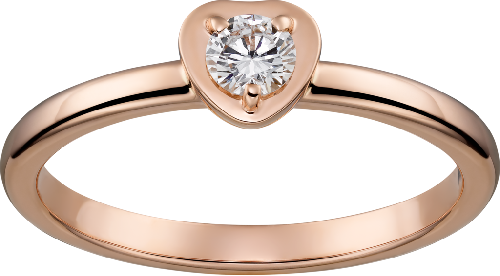 Diamants Légers ring, heart motifPink gold, diamond