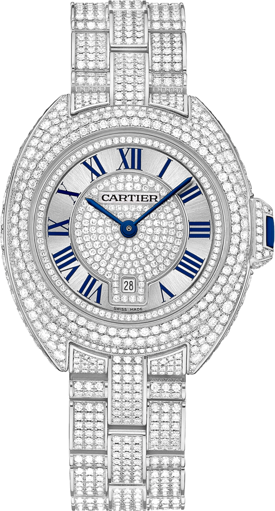 Clé de Cartier watch31 mm, rhodiumized 18K white gold, diamonds