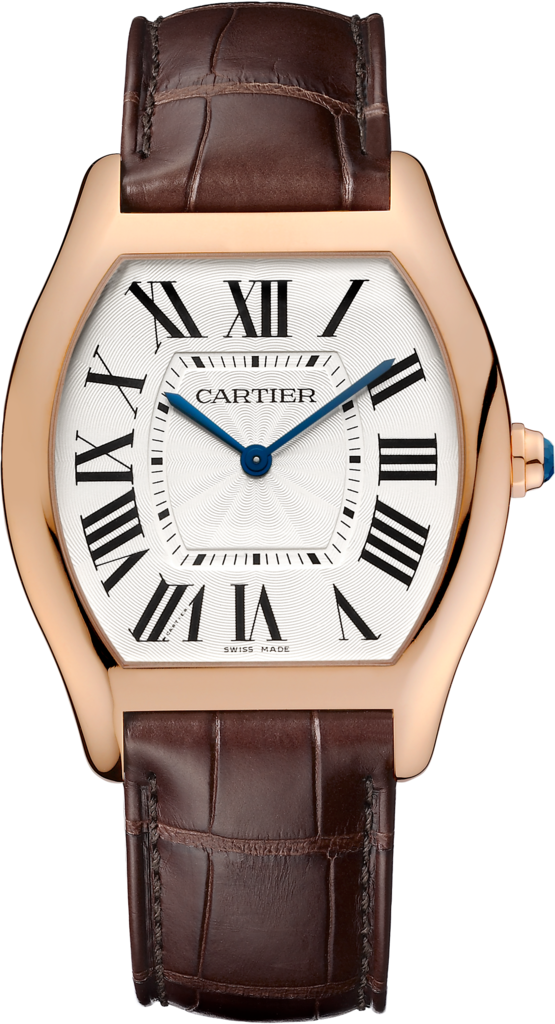 Tortue watchLarge model, 18K pink gold, leather
