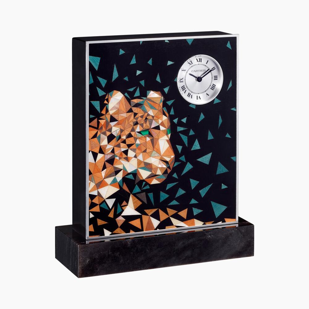 Настольные часы Ménagerie de Cartier категории Exceptional, мотив «пантера», узор «пиксель»