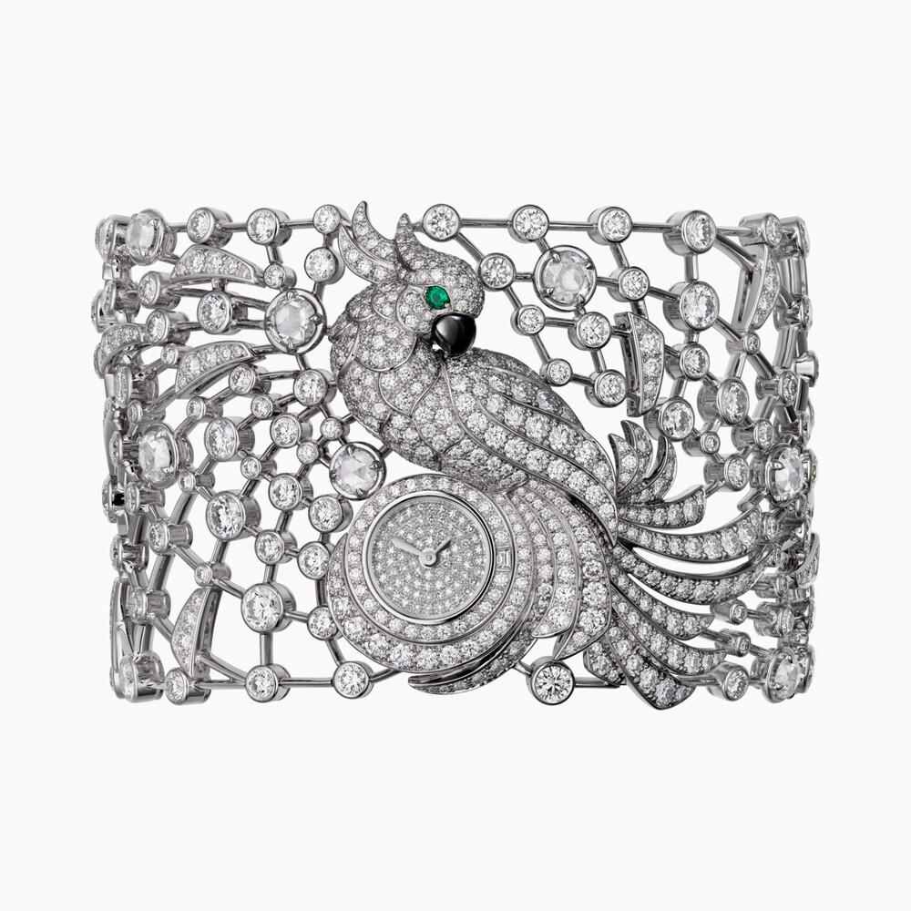 Часы с видимым временем категории Высокое ювелирное искусство, мотив «попугай»