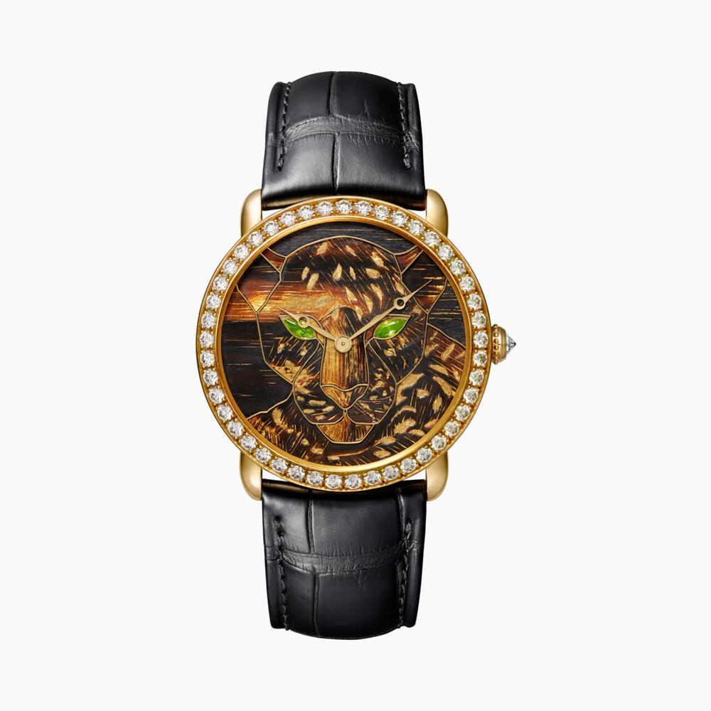 Часы Ronde Louis Cartier, деревянная мозаика ««маркетри», сусальное золото