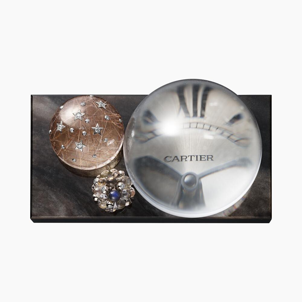 Настольные часы Les Galaxies de Cartier из серебристого обсидиана