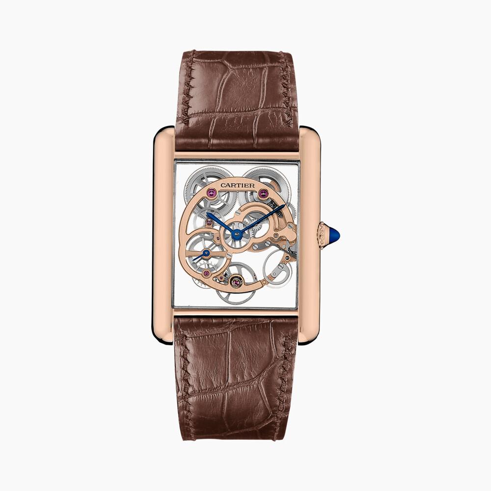 Часы Tank Louis Cartier, скелетон с сапфировым стеклом